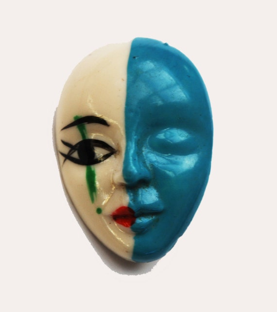 Women face brooch  Blue white  Unique small mask pin tears