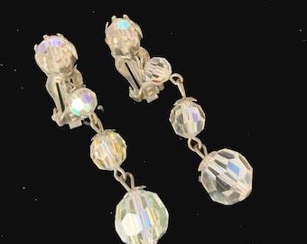 Crystal Earrings aurua borealis  Crystal Chandelier clip on earrings
