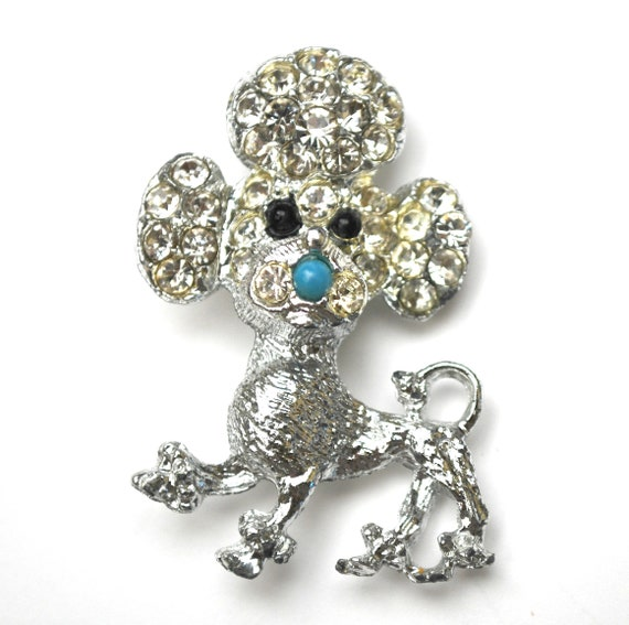 Poodle Brooch - Clear rhinestones - silver metal -   large  dog puppy -  figurine pin