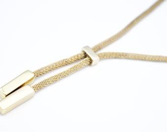 Anne Klein  Adjustable Slider  necklace  gold Mesh chain   bolo tie necklace