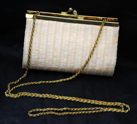 White Beaded  evening bag La Regale creamy off  white glass bead gold made in China Clutch purse