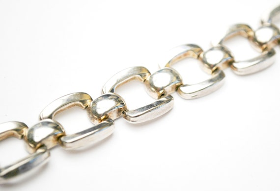 Sterling Linked  Bracelet - Signed Italy - Box link - Silver square book chain links -  925 Bangle