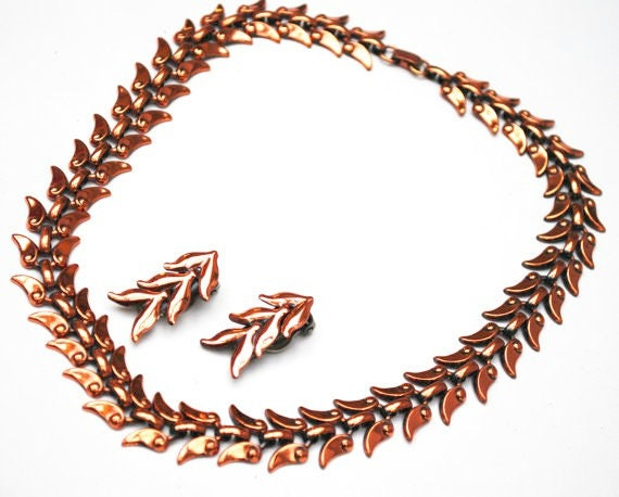 Renoir Copper Necklace and Earring set  Laurel leaf  signed  jewelry set  Mid century Mod