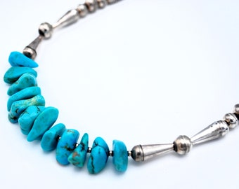 Turquoise Nugget Sterling Bench  bead necklace  Native American  silver cap beads   statement collar necklace