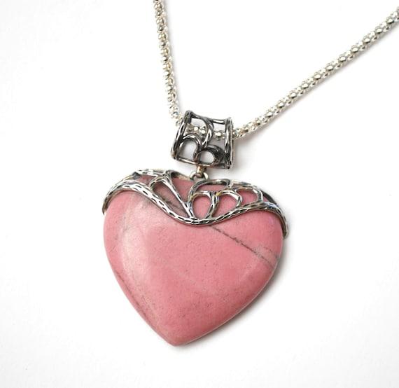 Pink Jasper Sterling  heart Pendant   Necklace -  silver filigree - Sterling chain - signed J & T - Pink Gemstone Necklace