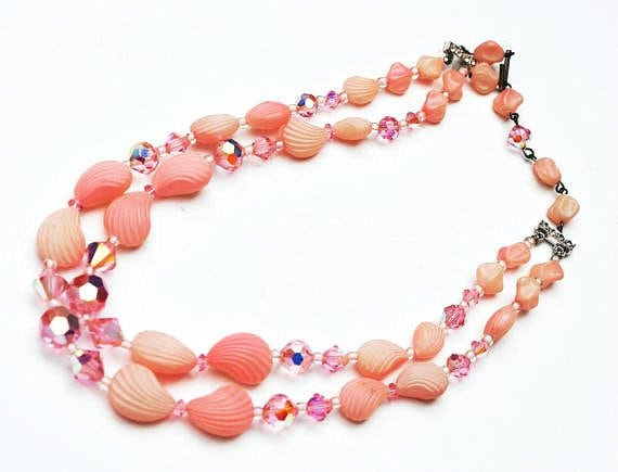 Double Strand Pink Bead Necklace - Crystal glass - Vintage plastic Shell -Rhinestone -  Mid century