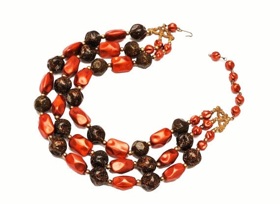 Bead  necklace  Multi strand  Cranberry Red Orange   glitter brown lucite beads