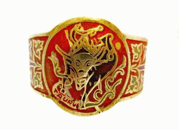 Zodiac Boho Cuff Bracelet  Taurus bull  Brass  orange Enamel Bangle