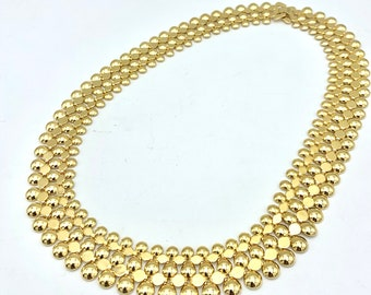 Gold  Necklace gold plated  stud mesh chain Link Collar necklace