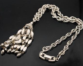 Crown Trifari Silver  Tassel Necklace mid century