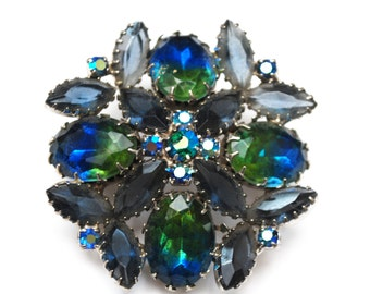 Rhinestone Brooch - Blue Green Givre  - open back Navette stones - flower brooch - Juliana style pin