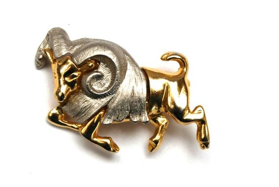 Ram Brooch Gold  silver  charging bull  Animal figurine pin
