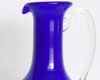 Vintage Cobalt Blue Pitcher or Ewer, Vintage Pitcher or Ewer, Cobalt Pitcher or Ewer, Vintage Pitcher, Vintage Ewer, Vintage Home Decor,