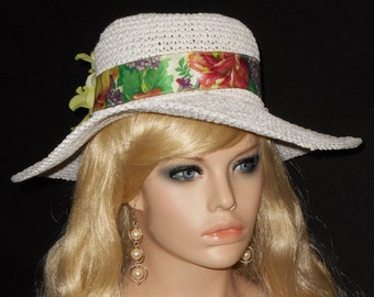 04cc08b9186 Off-White Spring Summer Wide Brim Hat Embellished with Floral Ribbon    Green Hydrangea