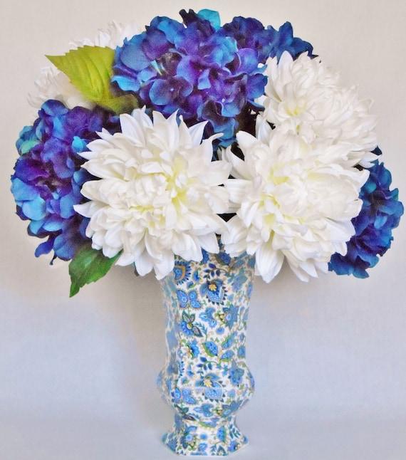 Silk flower arrangement dark blue hydrangea white dahlias etsy image 0 mightylinksfo