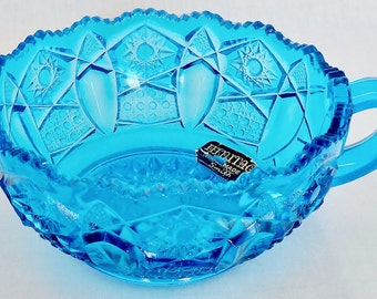 Vintage Heritage L. E. Smith Aqua/Turquoise Quintec Button Handled Bowl, Vintage Heritage Bowl, Vintage L. e. Smith Turquoise Bowl, Heritage