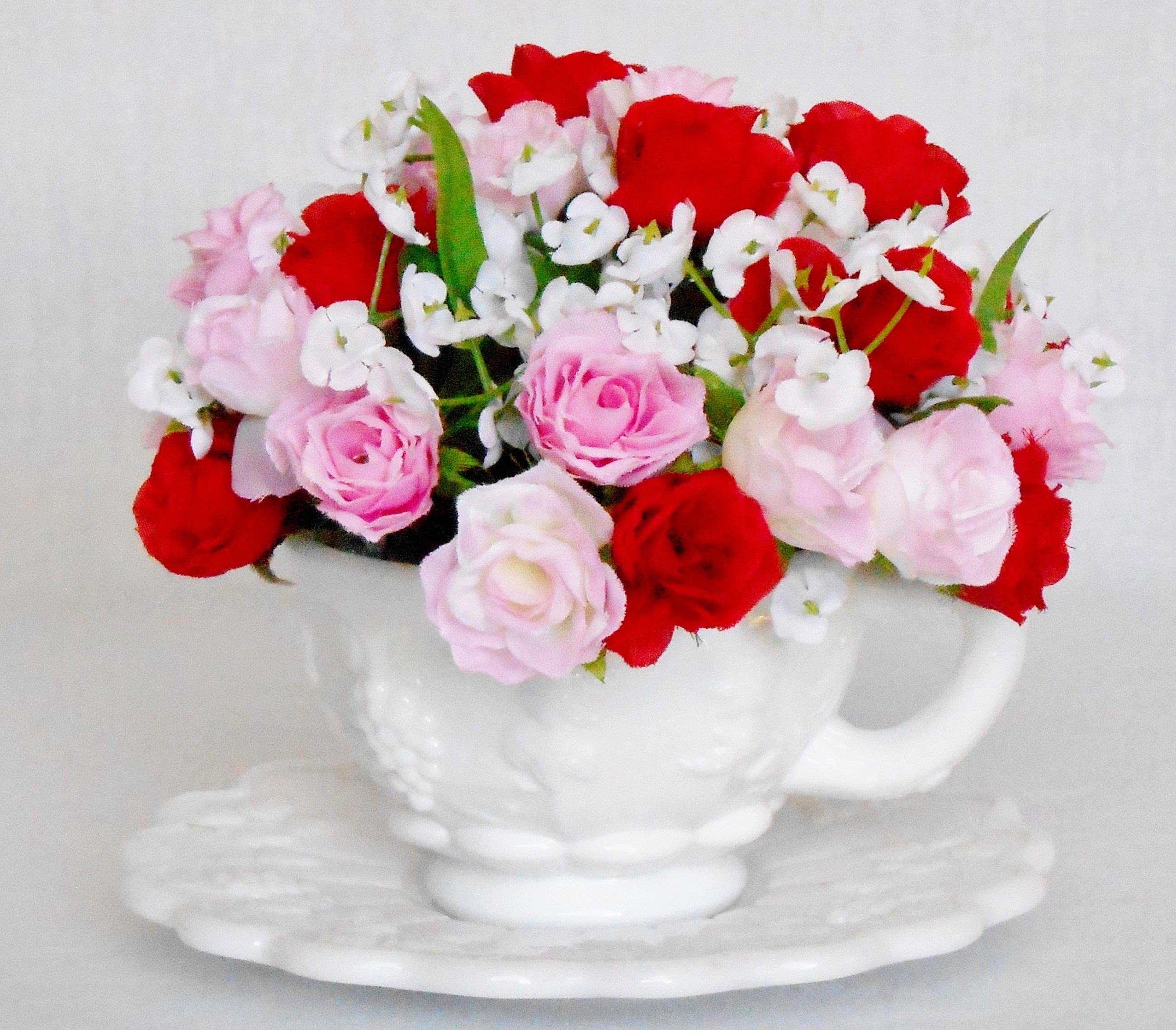 Teacup Silk Flower Arrangement Red Pink Mini Roses Vintage Etsy