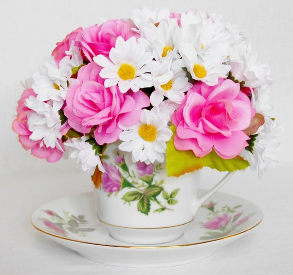 Teacup silk flower arrangement small pink roses small white etsy image 0 mightylinksfo
