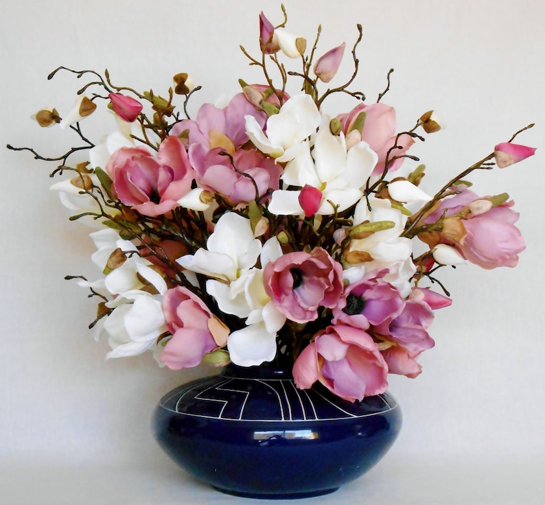 Artificial Flower Arrangement Mauve White Magnolia Etsy