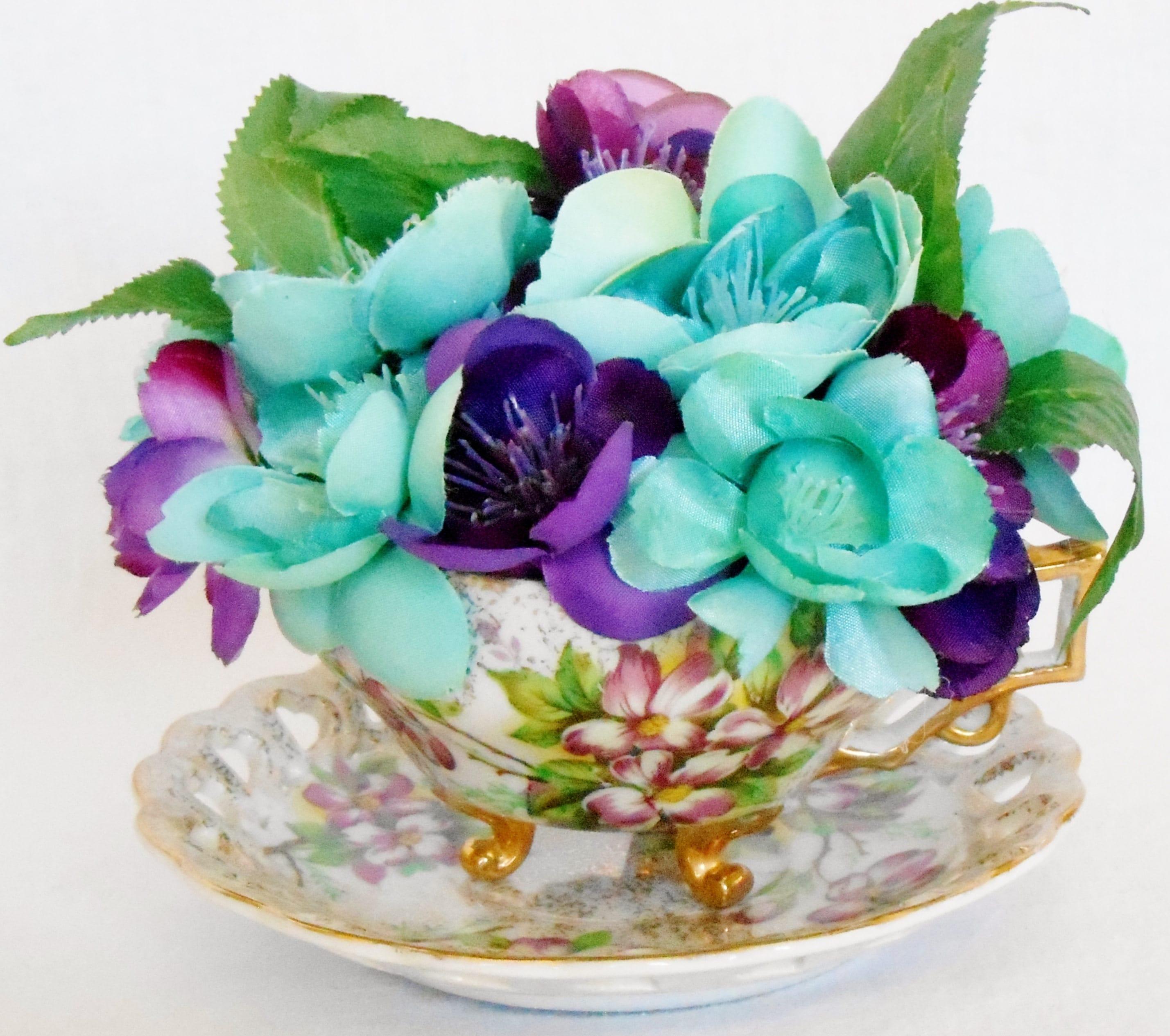 Teacup Silk Flower Arrangement Soft Aqua Purple Blossoms Etsy