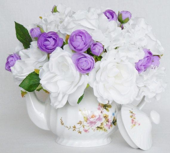Teapot Silk Flower Arrangement White Roses White Hydrangea Etsy