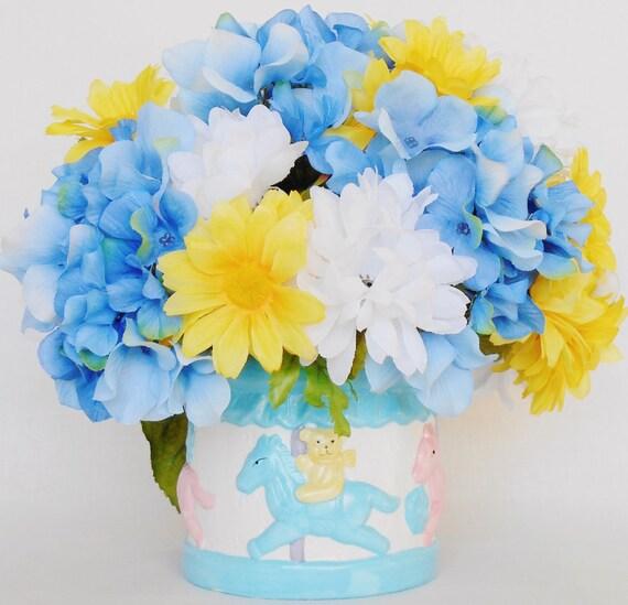 New Baby Arrangement White Mums Yellow Daisies Blue Etsy