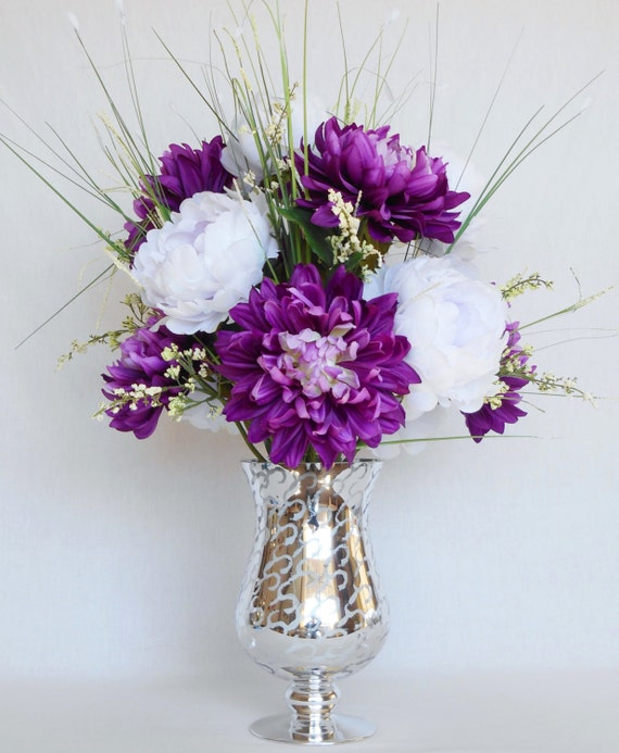 Artificial flower arrangement purple dahlias white peonies etsy image 0 mightylinksfo