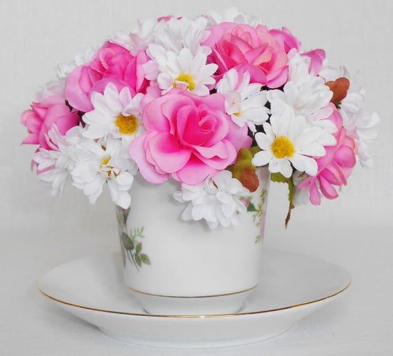 Teacup silk flower arrangement small pink roses small white etsy teacup silk flower arrangement small pink roses small white daisies vintage floral teacup teacup flowers teacup floral home decor mightylinksfo