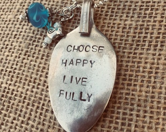 Choose Happy Live Fully - Stamped Spoon Necklace