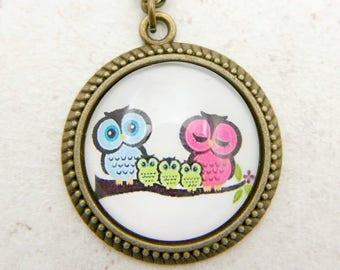 Owls Necklace, Owls jewelry, 2525C