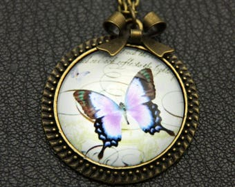 Purple butterfly Necklace, 2525C
