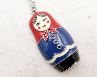 Russian doll Matryoshka necklace jewelry Boho necklace, Boho jewelry, hand painted