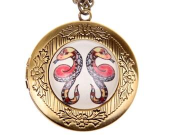 Gemini Necklace, Gemini locket, zodiac necklace, zodiac jewelry, Astrology sign, 2020m