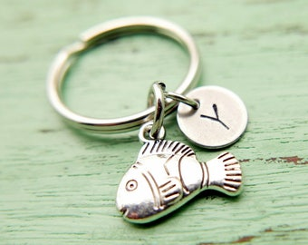 Nemo fish initial Keychain personnalized stainless steel monogram Keyring