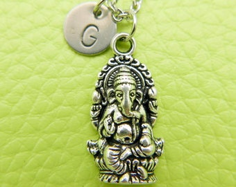 Ganesha Hindu God of Success Initial Necklace Monogram Stainless steel chain