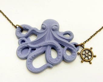 Octopus Necklace, Octopus Jewelry, Steampunk Necklace, Steampunk jewelry, 2525C