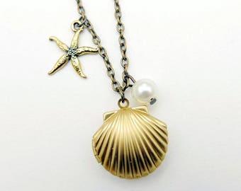 Sea shell locket Necklace