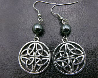 Celtic knot Earrings stainless steel hook, Natural stone bead