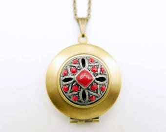 Red flower hand painted locket necklace, 1616m