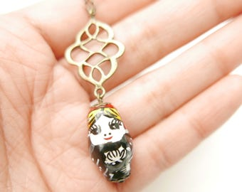 porcelain Russian doll Necklace, Matryoshka necklace, Boho necklace, Boho jewelry