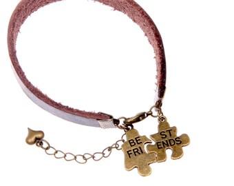 Best friends Bracelet Brown leather jewelry