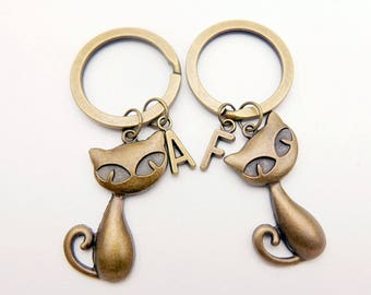 Best Friends, Cat initial monogram keyring keychain,