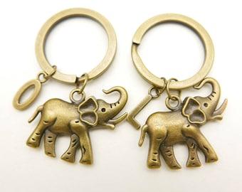 Best Friends, Elephant initial monogram keyring keychain,