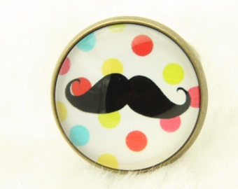 Mustache RING Red on a background in weight (2020B)