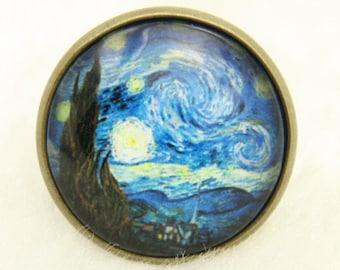 Starry Night Ring, Van Gogh Jewelery, Gift For Artist, Starry Night Jewelery, Adjustable Ring, Cabochon Ring, Van Gogh painting,brass 2020