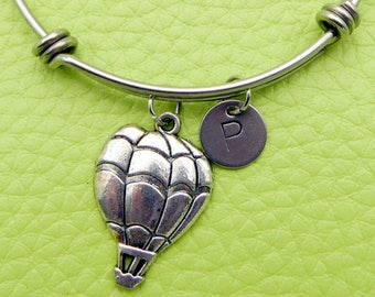 Hot air balloon Bracelet initial Bangle Adjustable Expandable monogram stainless steel bangle