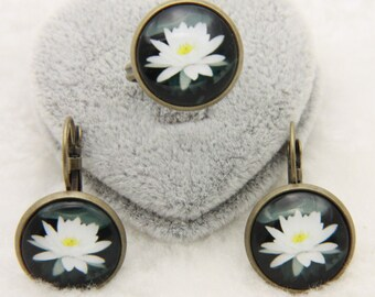 White Lotus jewelry set Lotus earrings, Lotus ring, 1616