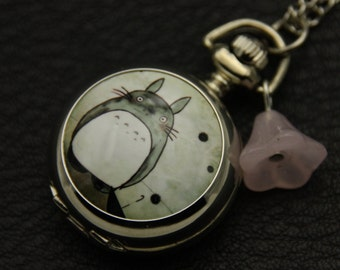 Totoro necklace,My Neighbour Totoro Necklace, Anime pocket watch,photo jewelry gift  2222M