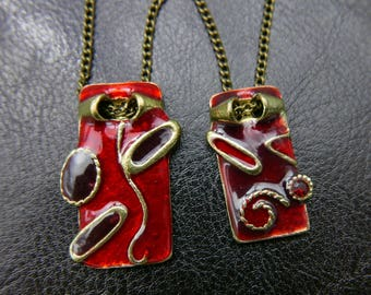 Red hand painted best friend Necklace