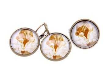 Vintage Hot air ballon SET earrings and ring
